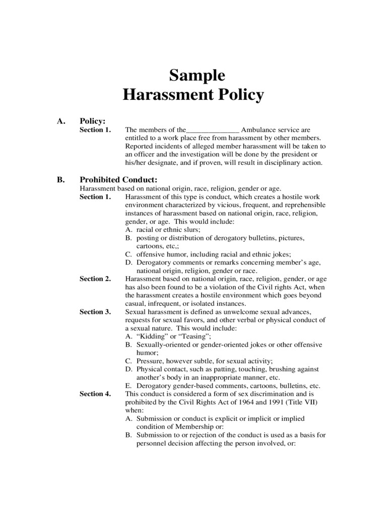 harassment policy template