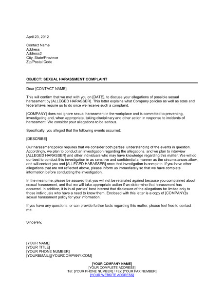 letter to sexual harassment complainant d640