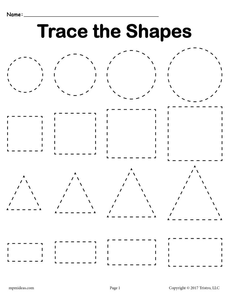 3 free shapes tracing worksheets smallest to largest a7559