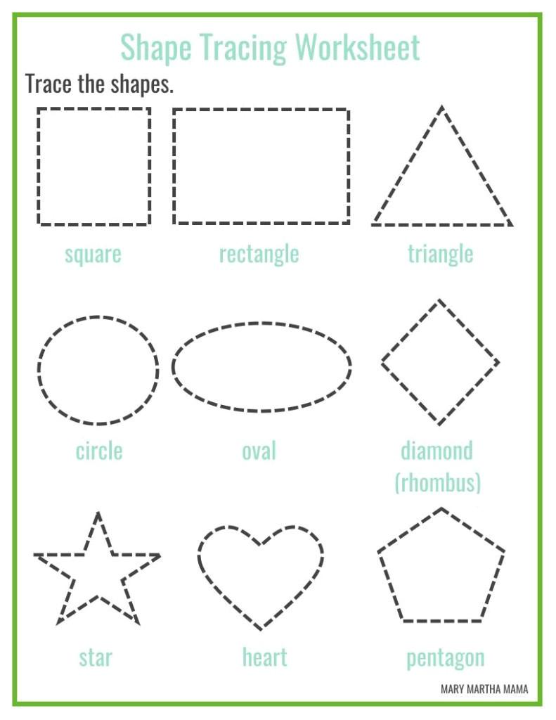 Shape Tracing Templates Preschool Printables Mary Martha Mama