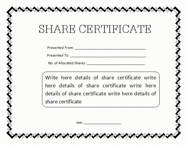 sharestock certificate sample