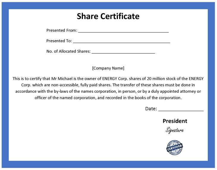 ordinary share certificate