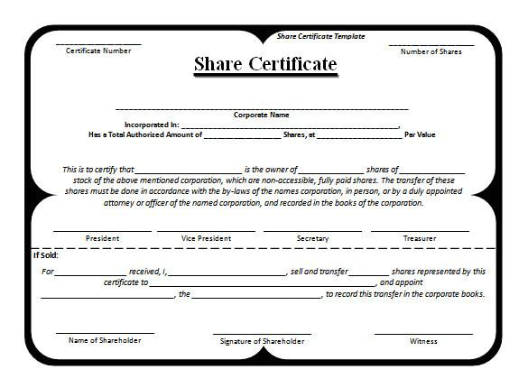 shareholders certificate template