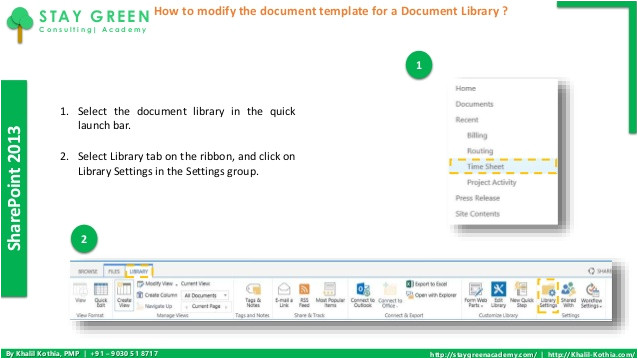 how to modify the document template for a document library in sharepoint 2013 administration