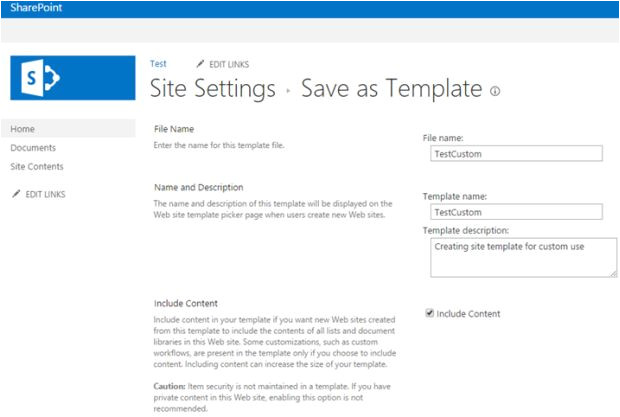 save site template in sharepoint and use for custom template