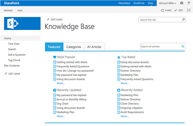 Sharepoint Knowledge Management Template Knowledge Base 2 5 for Sharepoint From Bamboo solutions