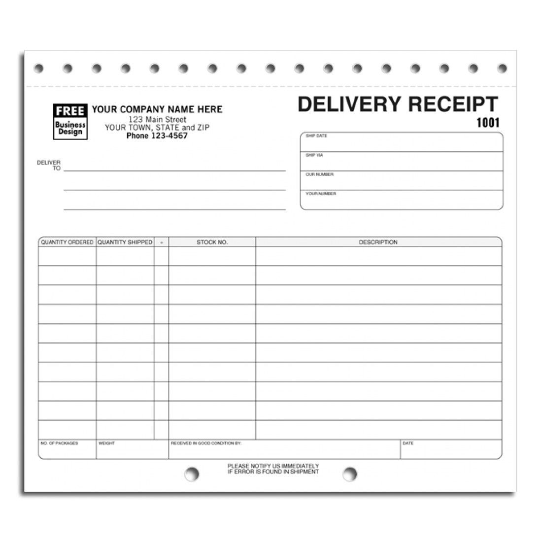 preprinted delivery receipt forms