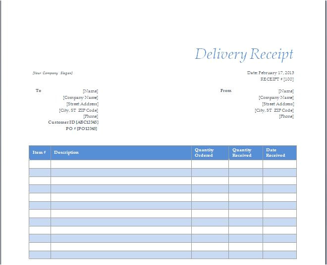 post free printable delivery receipt 254857
