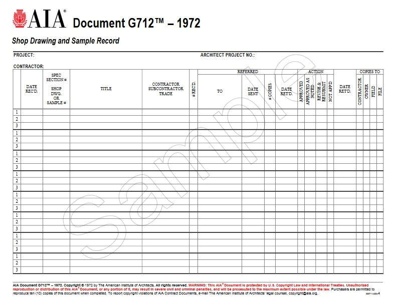 g7121972 shop drawing and sample record