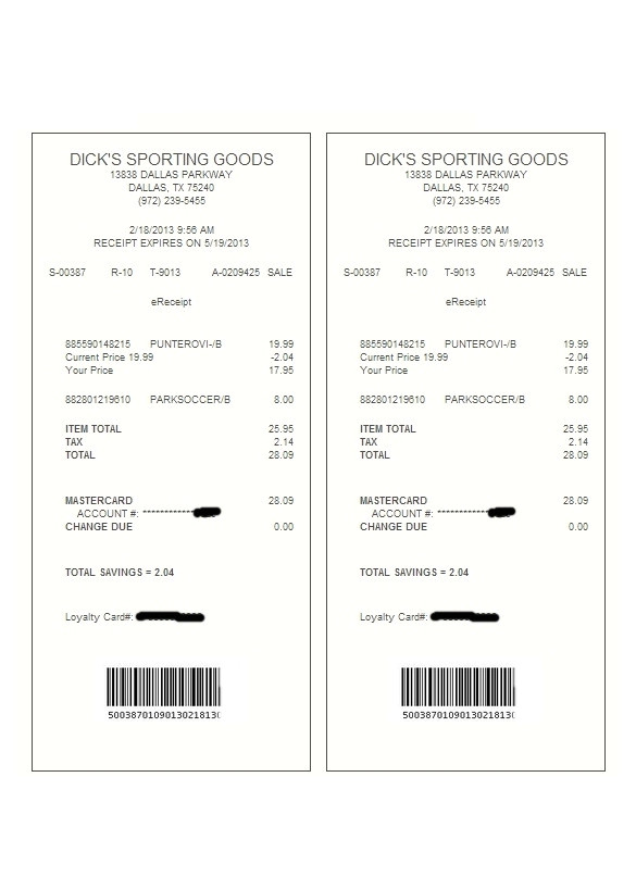 sample electronic receipt template