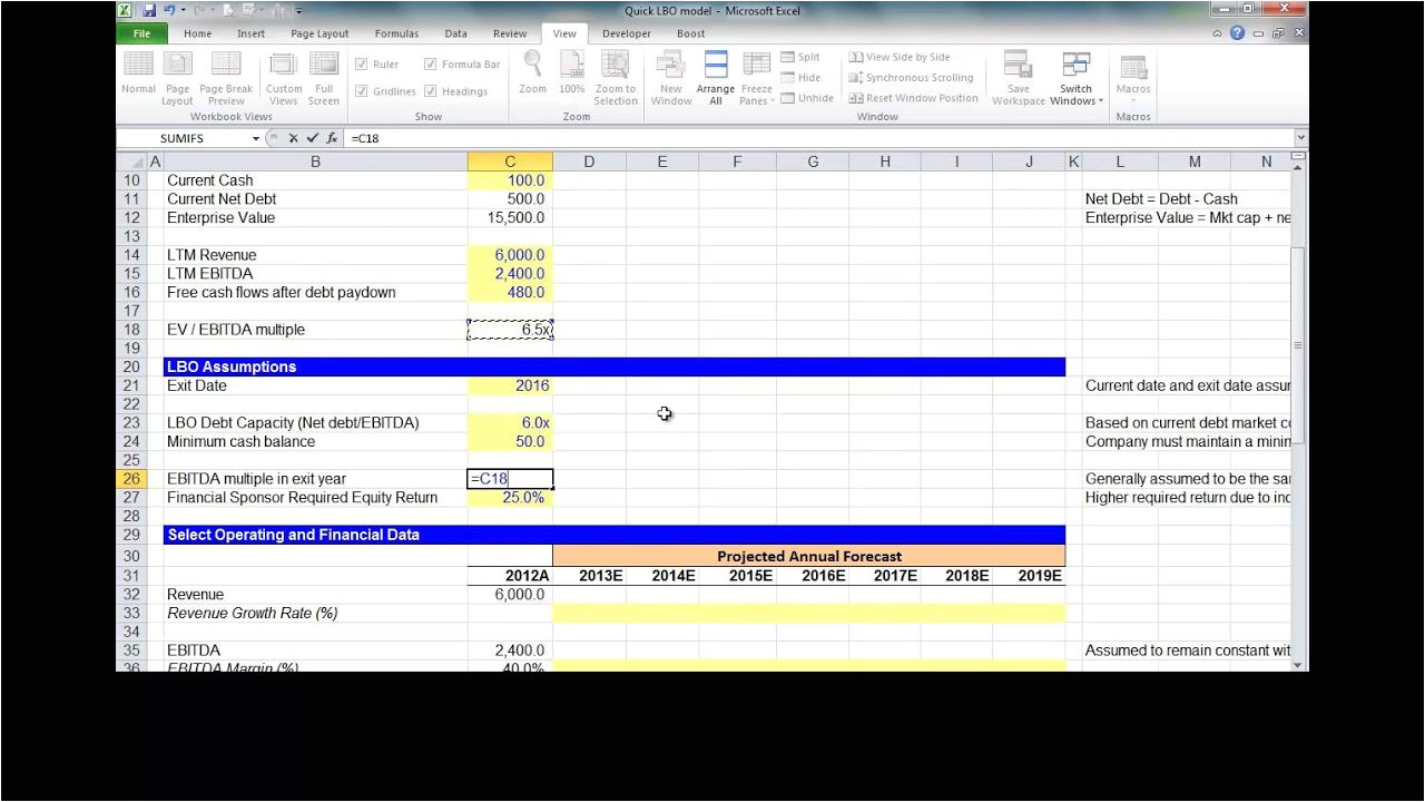 Simple Lbo Model Template Financial Modeling Quick Lesson Simple Lbo Model 1 Of 3