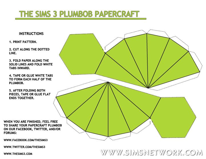 Sims Plumbob Template Plumbob Papercraft Snw Simsnetwork Com