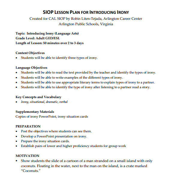 sample siop lesson plan template
