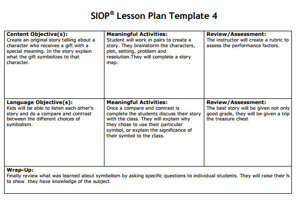 siop lesson plan templat