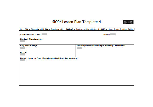 Siop Lesson Plan Template 4 9 Siop Lesson Plan Templates Doc Excel Pdf Free