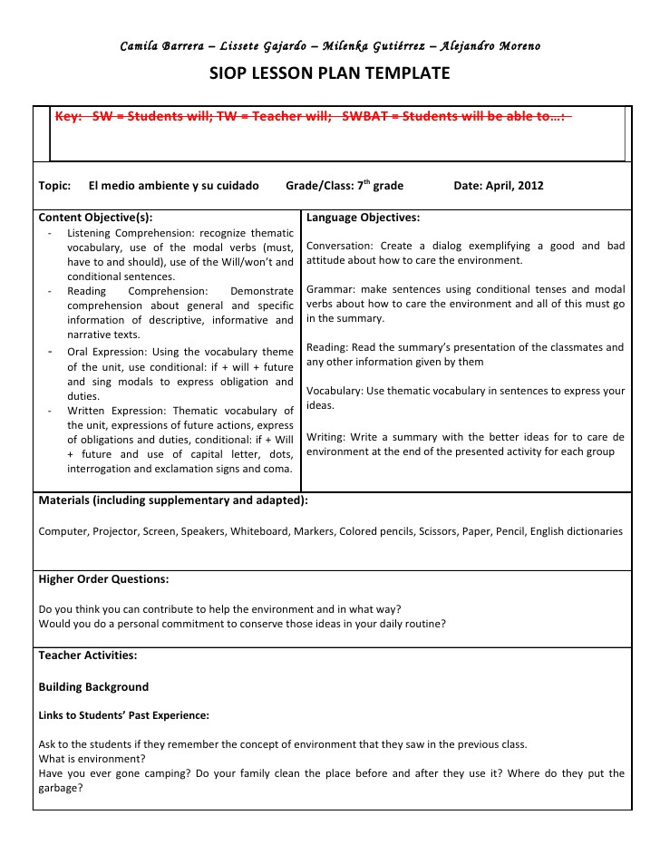 siop unit lesson plan template sei model