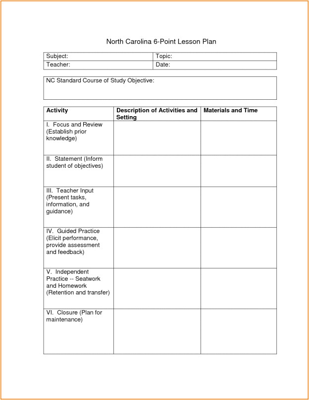 Six Point Lesson Plan Template 6 Point Lesson Plan Myeducationeducationdotcom