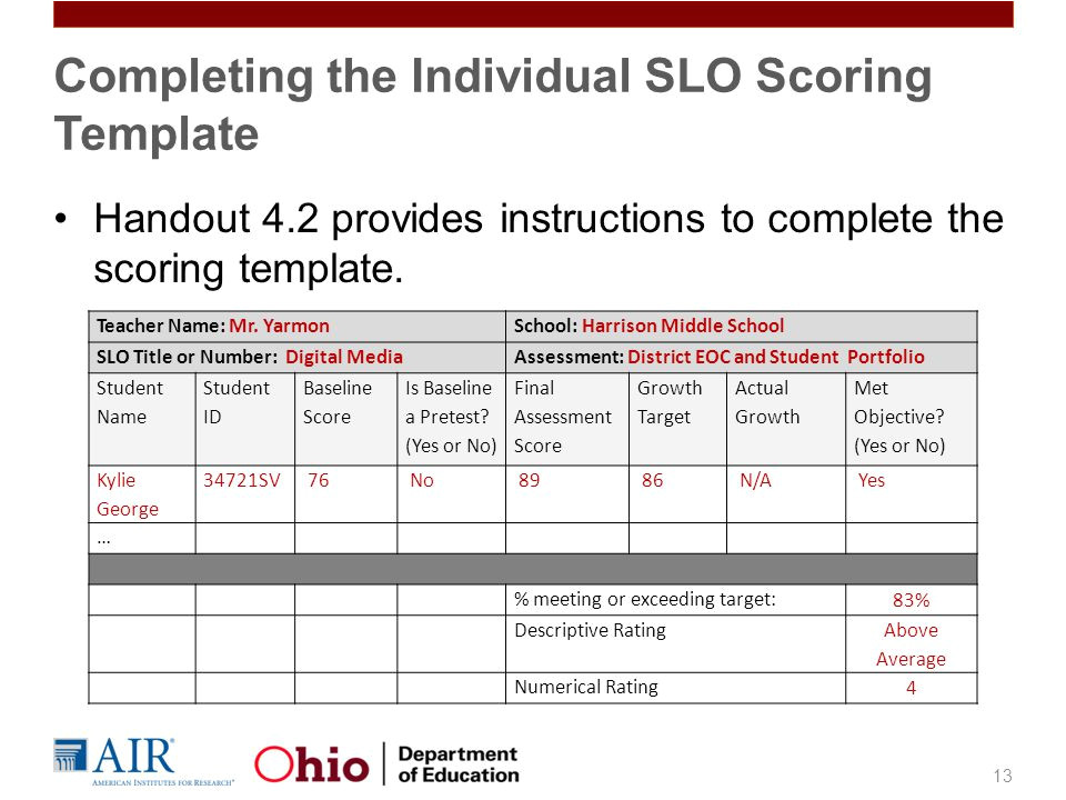 Slo Scoring Template Student Growth Measures In Teacher Evaluation Ppt Video