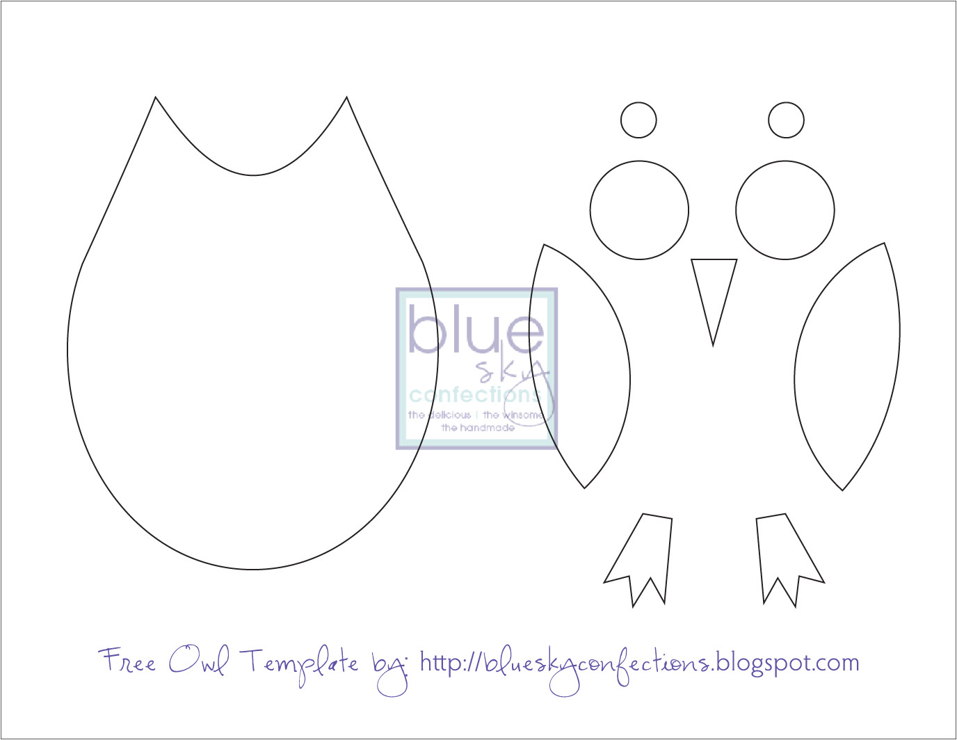 Small Owl Template Blue Sky Confections October 2010