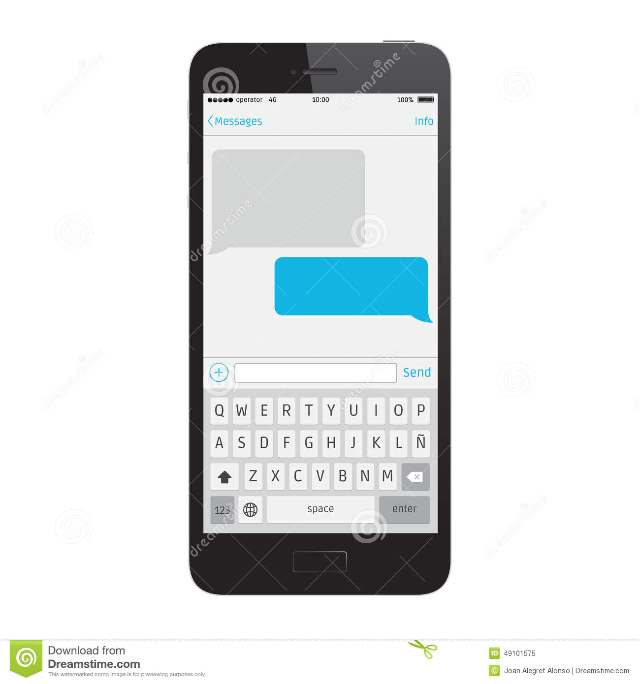 Sms Template iPhone Phone Message Template Stock Vector Illustration Of