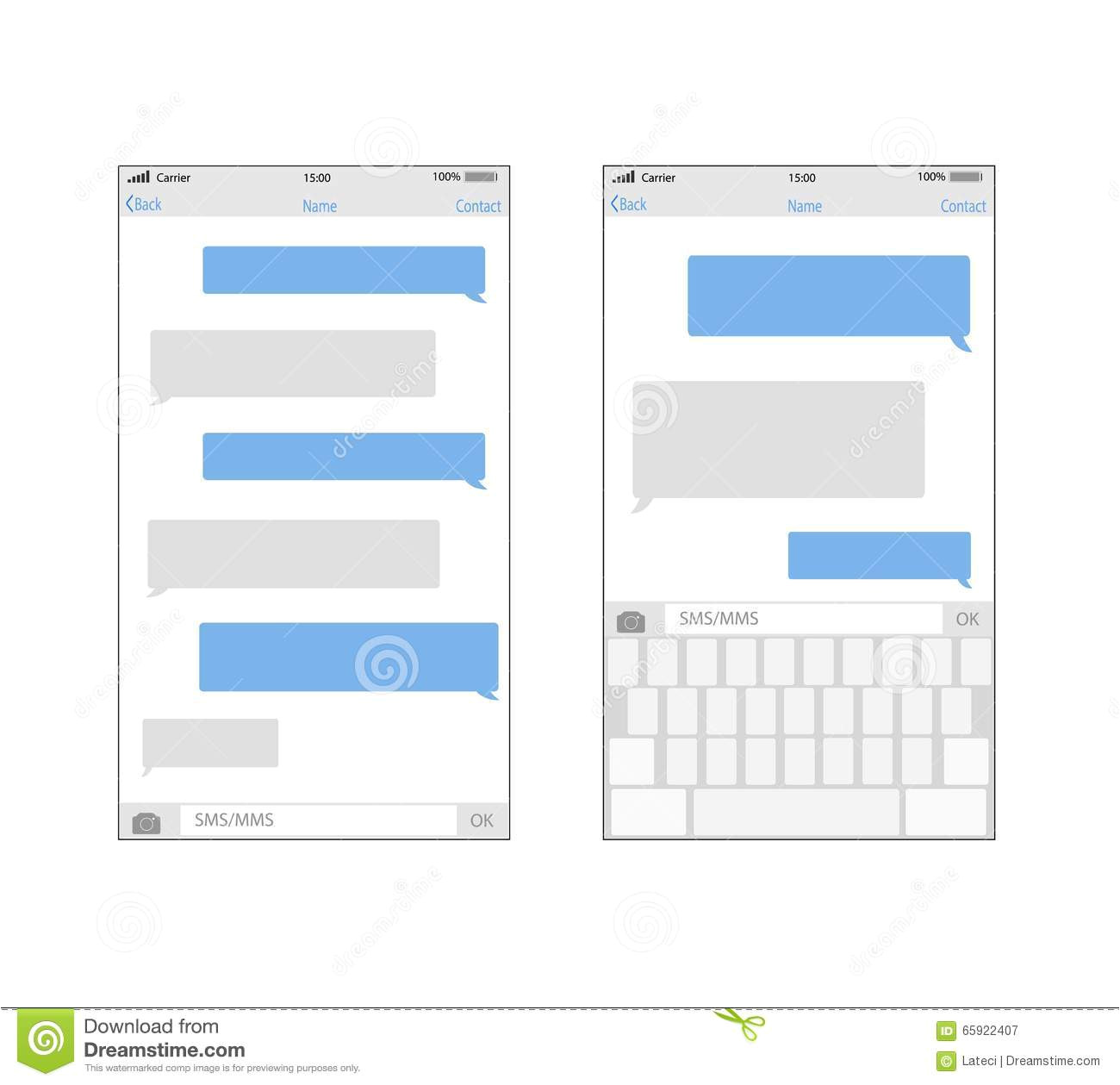 stock illustration smartphone chatting sms template bubbles place your own text to message clouds image65922407