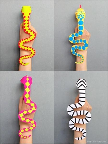 papercraft snake finger puppet printables