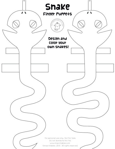 Snake Puppet Template Snake Finger Puppets Mr Printables Snake Finger Puppets Mr