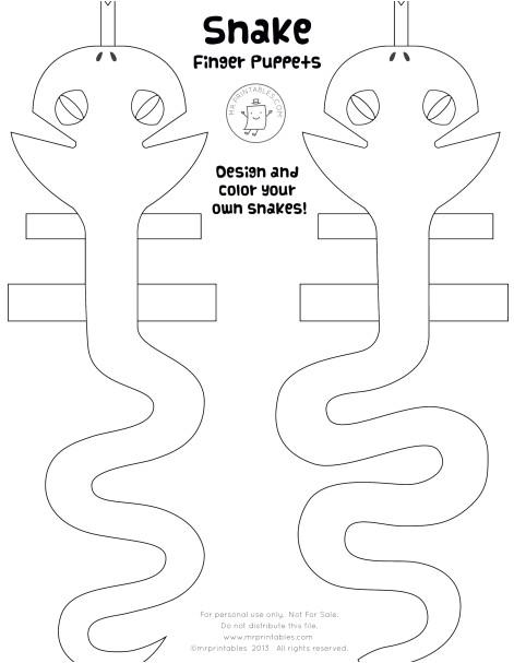 Snake Puppet Template Snake Finger Puppets Mr Printables Snake Finger Puppets Mr