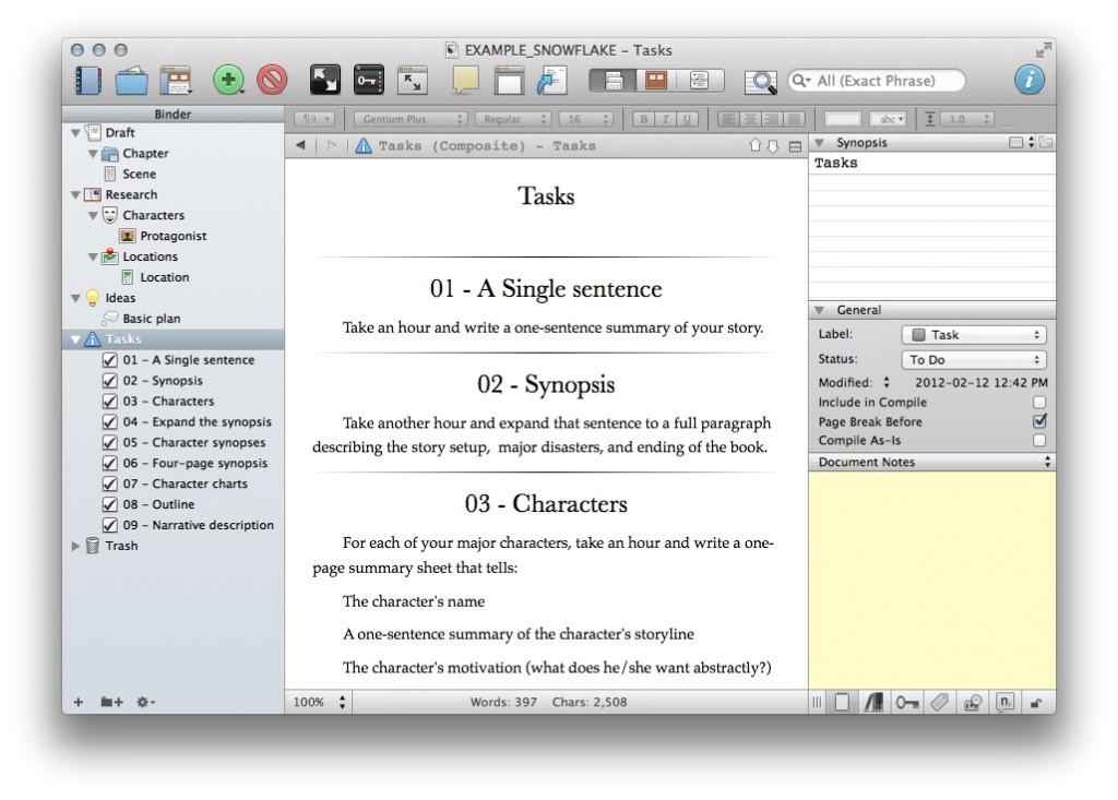 snowflake method template for scrivener 2 x