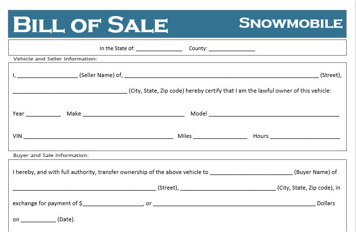 free printable snowmobile bill of sale