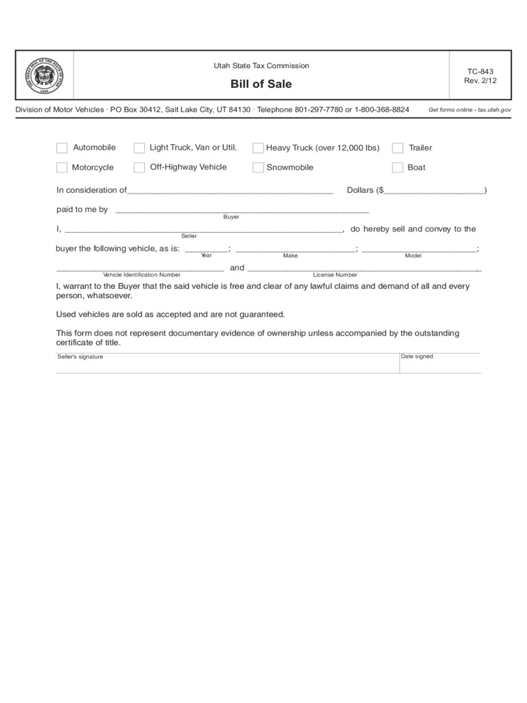 snowmobile bill of sale form