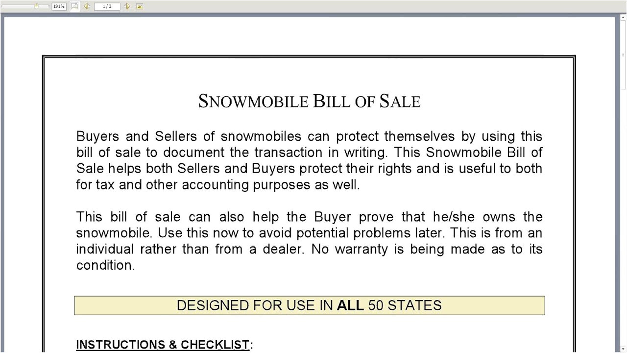 snowmobile bill of sale template