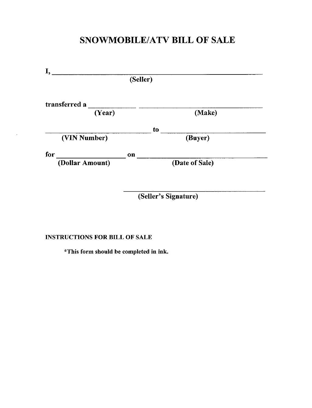 free snowmobile or atv bill of sale form iowa