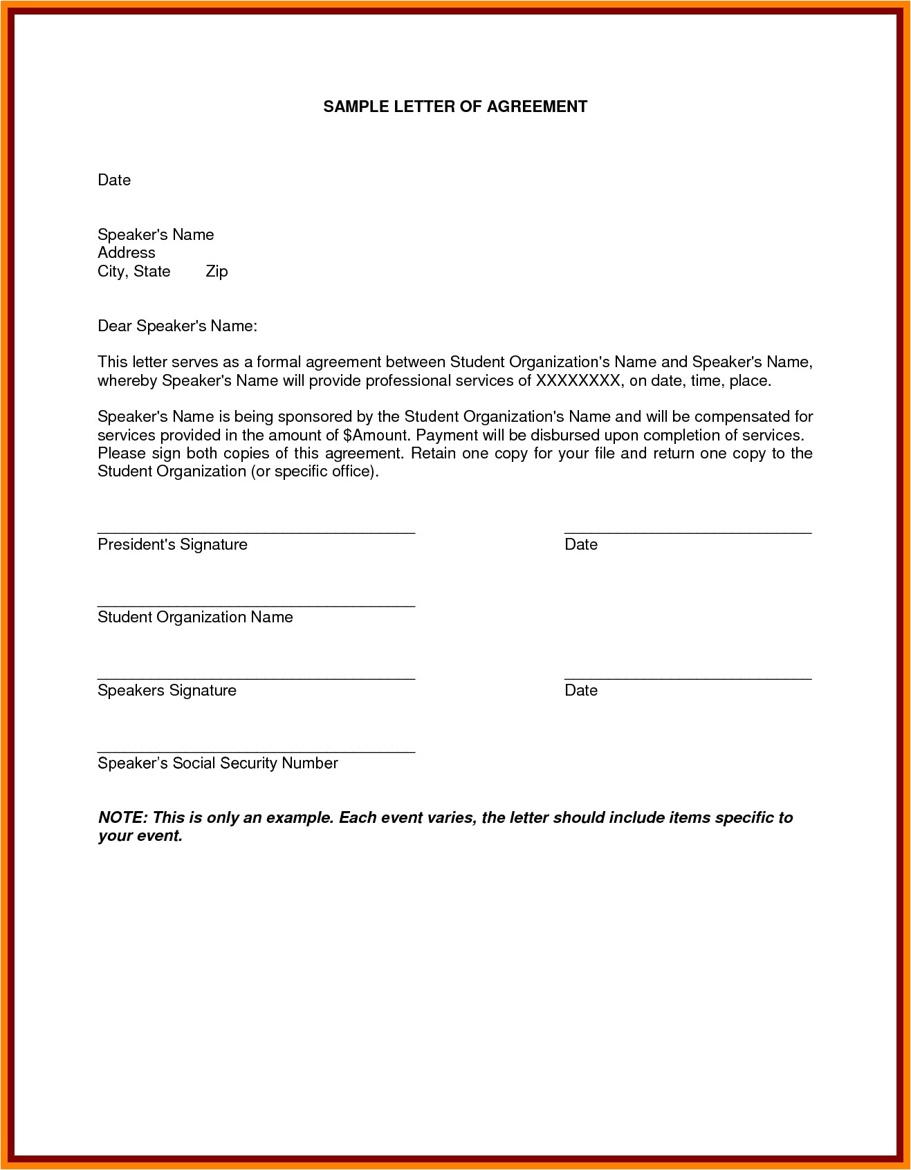 Soa Service Contract Template 8 Example Of Letter Of Agreement Penn Working Papers