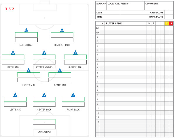 soccer team positions template