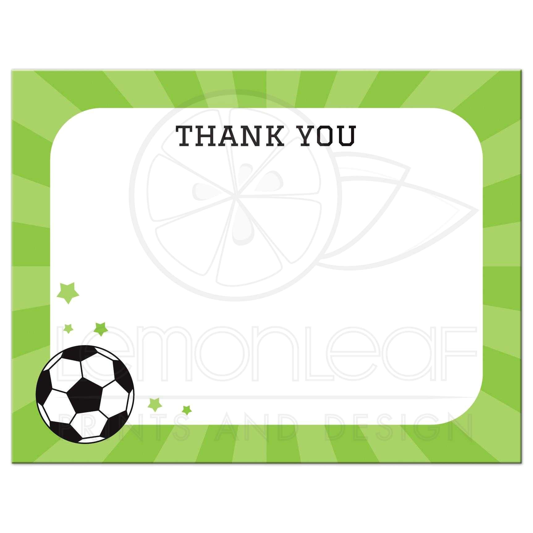 soccer ball and stars flat thank you note card
