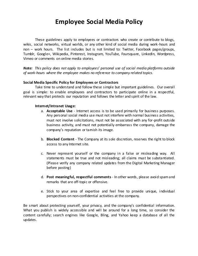 social media policy template for schools