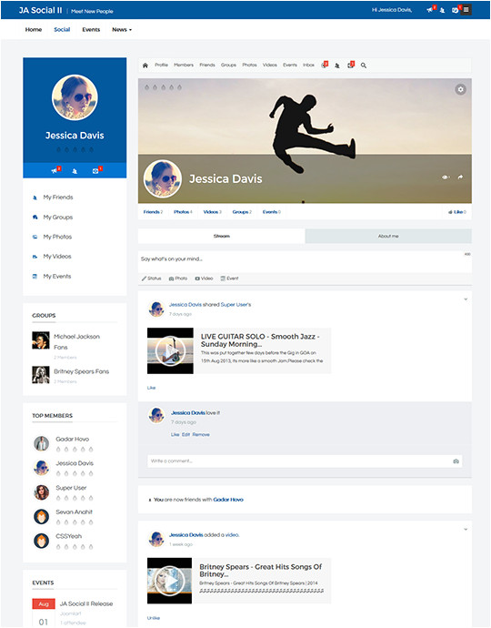 Social Network Profile Template Ja social Ii Business Joomla theme Free Download