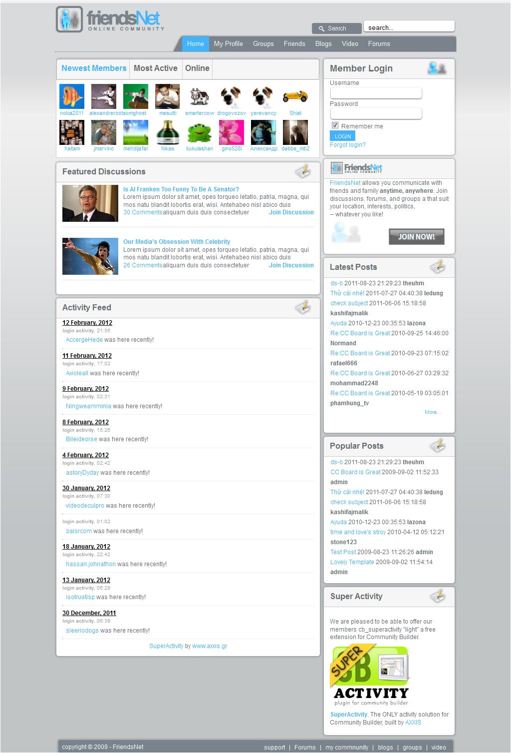 Social Networking Sites Templates PHP Jma social Network Template Vn