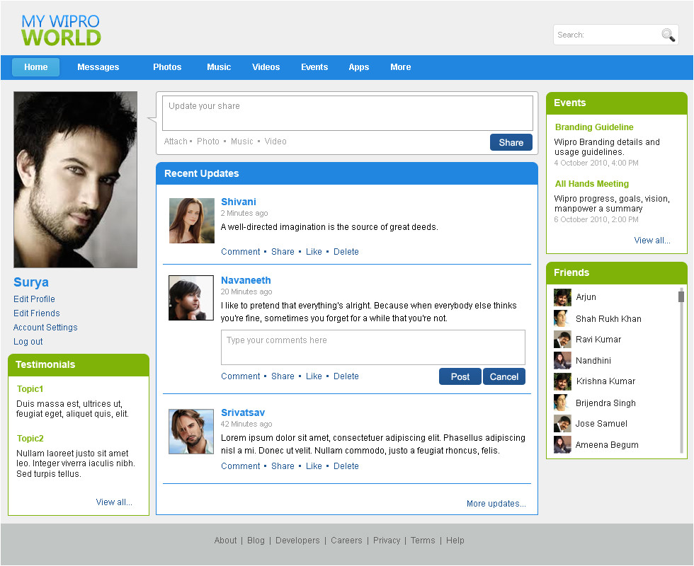 Social Networking Sites Templates PHP Websites by Bhanu Shankar at Coroflot Com