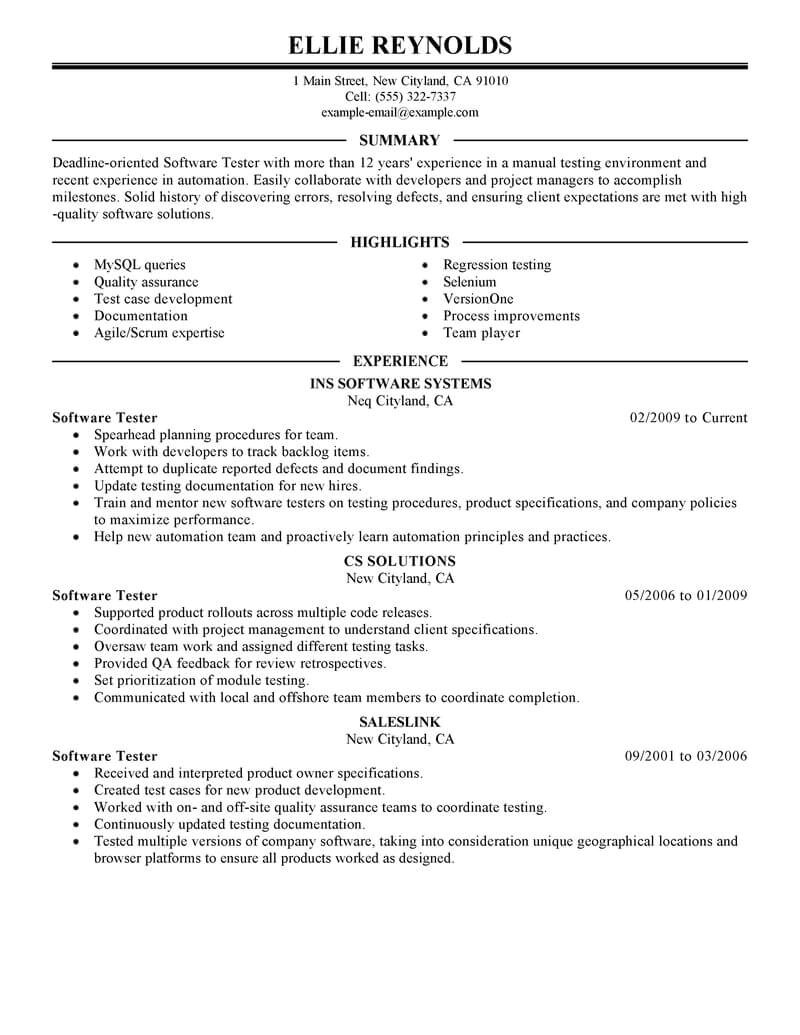 Software Testing Resume Samples for 1 Year Experience Best software Testing Resume Example Livecareer