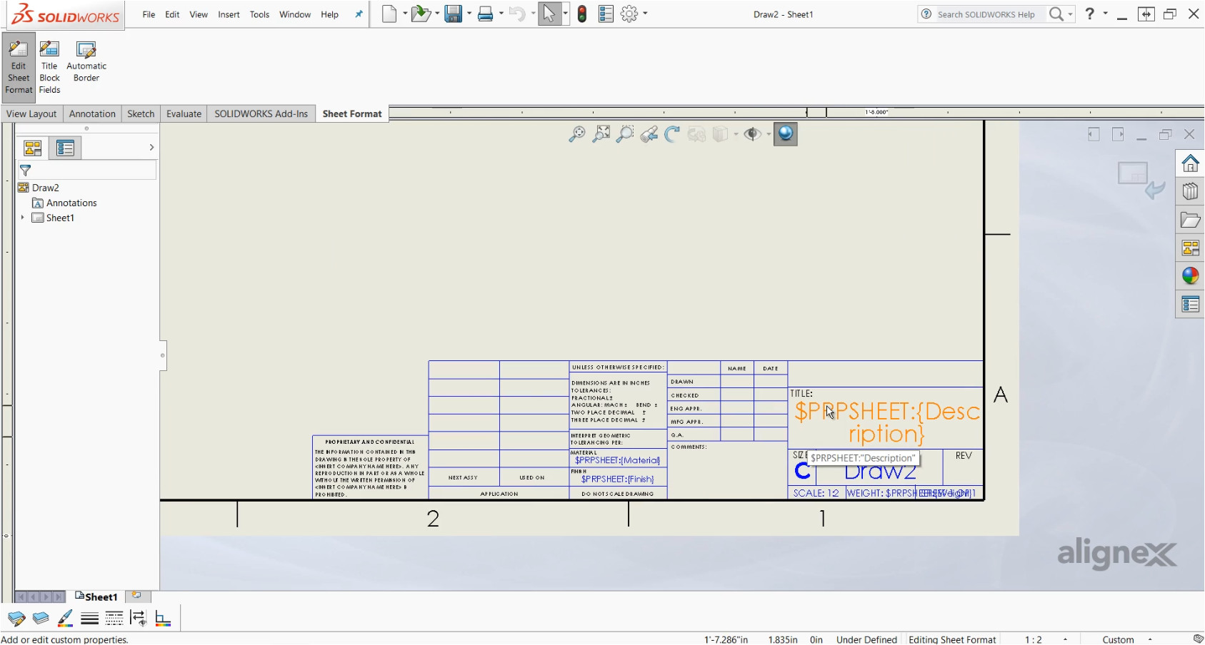 create drawing templates sheet formats solidworks