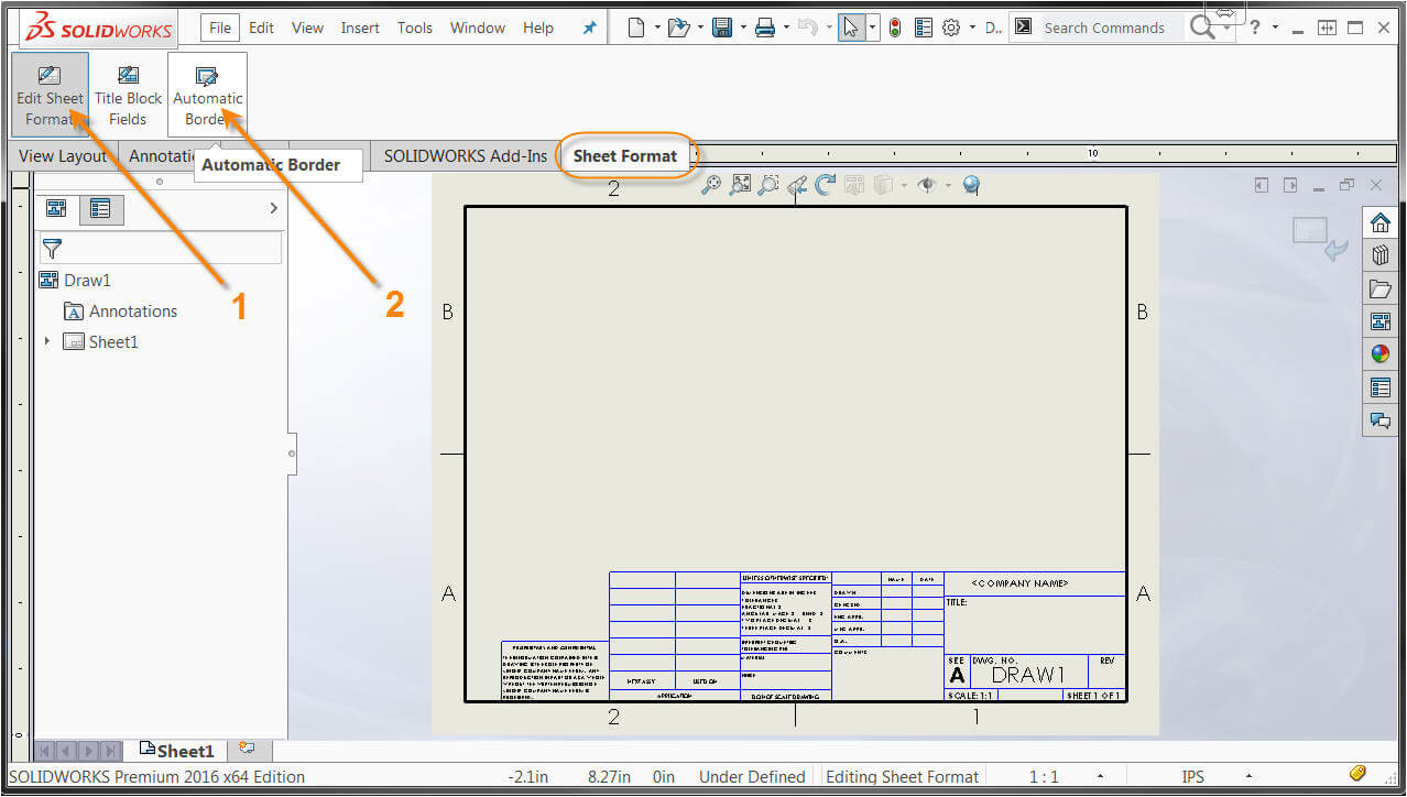 new features in solidworks 2016 automatic border