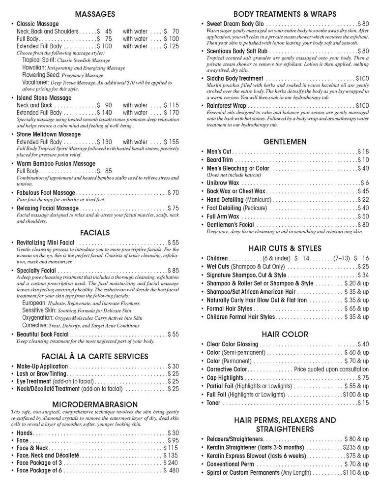 Spa Menu Of Services Template 11 Best Photos Of Spa Menu Of Services Spa Service Menu