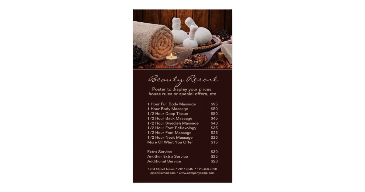 promotional spa menu of services poster template 228917943486373339