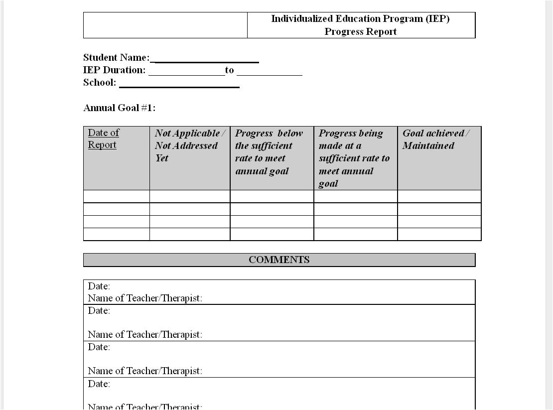 progress report time google document to