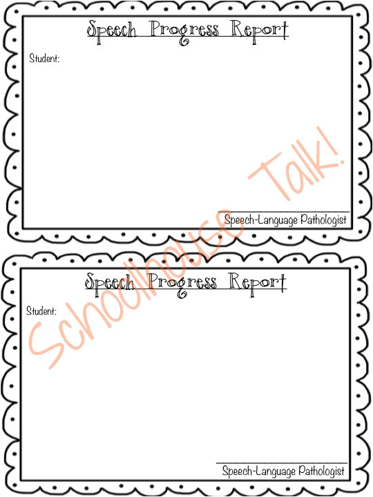 Speech therapy Progress Report Template Schoolhouse Talk Free Speech therapy Progress Report