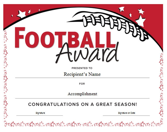 football certificate templates free