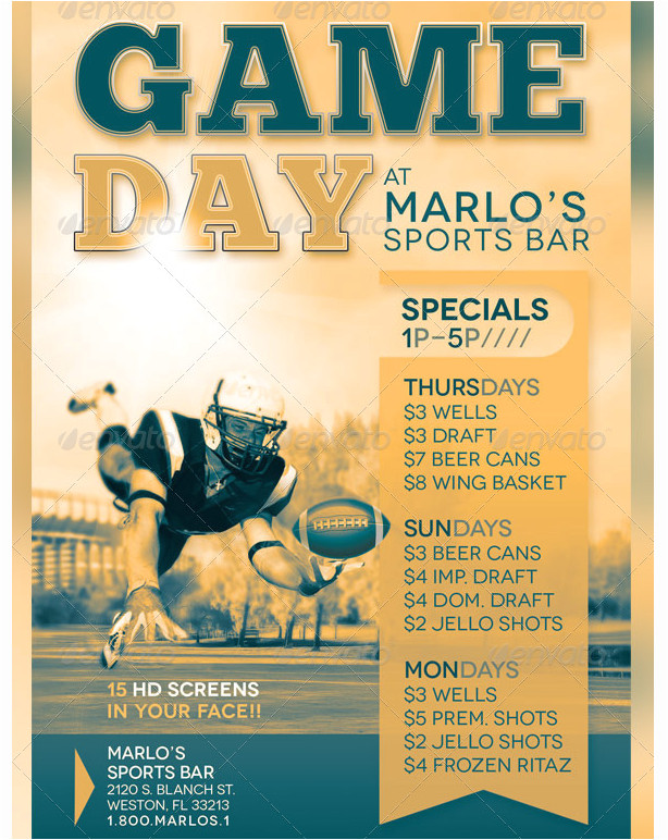 game day sports bar flyer template party flyer templates