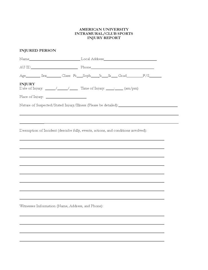 free sample injury report form
